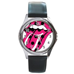 Pink Tongue Round Metal Watch