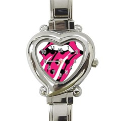 Pink Tongue Heart Italian Charm Watch