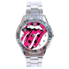 Pink Tongue Stainless Steel Analogue Watch