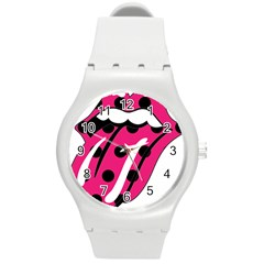 Pink Tongue Round Plastic Sport Watch (m)