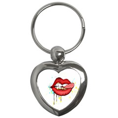 Bit Your Tongue Key Chains (heart)  by sherylchapmanphotography