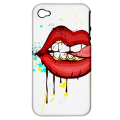 Bit Your Tongue Apple Iphone 4/4s Hardshell Case (pc+silicone)