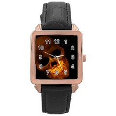 Skull Rose Gold Leather Watch