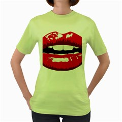 Sexy Mouth  Women s Green T Shirt