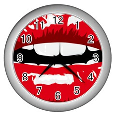 Sexy Mouth  Wall Clocks (silver)  by sherylchapmanphotography