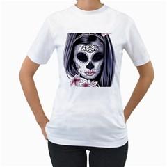 Sugar Skull Women s T Shirt (white) (two Sided)