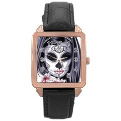Sugar Skull Rose Gold Leather Watch