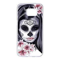 Sugar Skull Samsung Galaxy S7 Edge White Seamless Case by sherylchapmanphotography