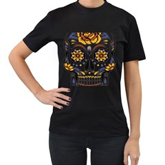 Sugar Skull Women s T Shirt (black) (two Sided)