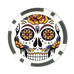 Sugar Skull Poker Chip Card Guard