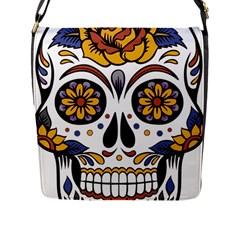 Sugar Skull Flap Messenger Bag (l)