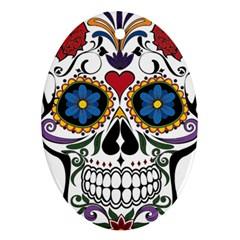 Cranium Sugar Skull Ornament (oval)