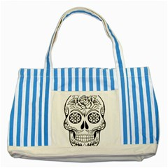 Sugar Skull Striped Blue Tote Bag