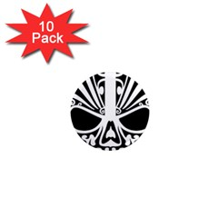 Tribal Sugar Skull 1  Mini Magnet (10 Pack)