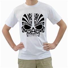 Tribal Sugar Skull Men s T Shirt (white) (two Sided)