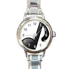 Music Note  Round Italian Charm Watch
