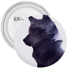 Black Wolf  3  Buttons