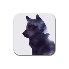 Black Wolf  Rubber Square Coaster (4 Pack)