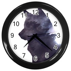Black Wolf  Wall Clocks (black)
