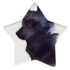 Black Wolf  Star Ornament (two Sides)