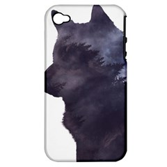 Black Wolf  Apple Iphone 4/4s Hardshell Case (pc+silicone)