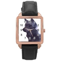 Black Wolf  Rose Gold Leather Watch