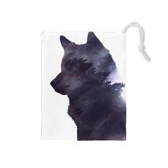 Black Wolf  Drawstring Pouches (medium)