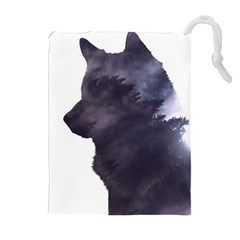 Black Wolf  Drawstring Pouches (extra Large)