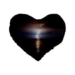 Lightning Standard 16  Premium Flano Heart Shape Cushions