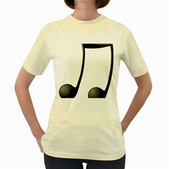 Music Note Women s Yellow T Shirt