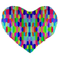 Artwork By Patrick Colorful 35 Large 19  Premium Flano Heart Shape Cushions
