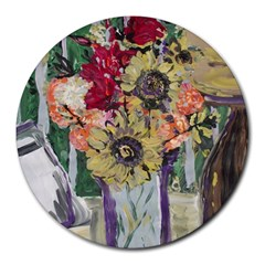 Sunflowers And Lamp Round Mousepads