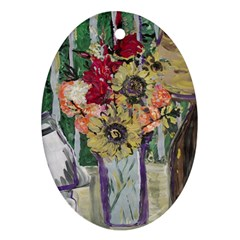 Sunflowers And Lamp Ornament (oval)