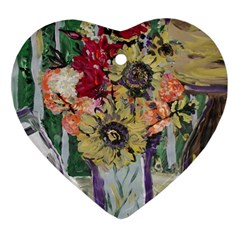 Sunflowers And Lamp Ornament (heart) by bestdesignintheworld