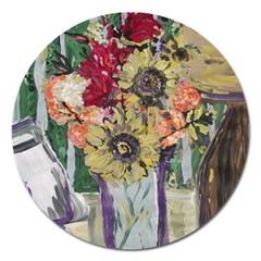 Sunflowers And Lamp Magnet 5  (round)