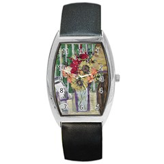 Sunflowers And Lamp Barrel Style Metal Watch