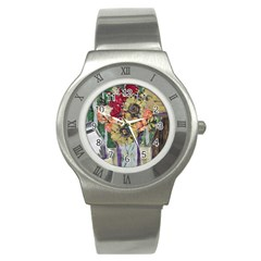 Sunflowers And Lamp Stainless Steel Watch