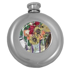 Sunflowers And Lamp Round Hip Flask (5 Oz)