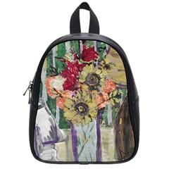 Sunflowers And Lamp School Bag (small) by bestdesignintheworld