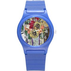 Sunflowers And Lamp Round Plastic Sport Watch (s) by bestdesignintheworld