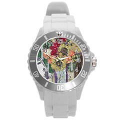 Sunflowers And Lamp Round Plastic Sport Watch (l)