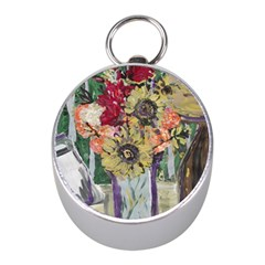 Sunflowers And Lamp Mini Silver Compasses