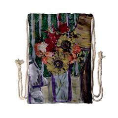 Sunflowers And Lamp Drawstring Bag (small) by bestdesignintheworld