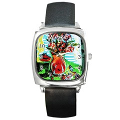 Dry Flowers On Your Windows Square Metal Watch by bestdesignintheworld