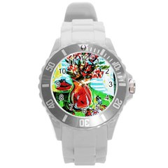 Dry Flowers On Your Windows Round Plastic Sport Watch (l)