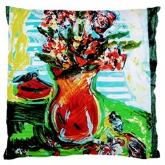 Dry Flowers On Your Windows Large Flano Cushion Case (two Sides)