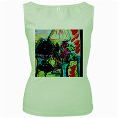 Still Life With Two Lamps Women s Green Tank Top