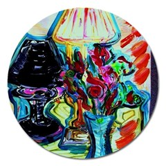 Still Life With Two Lamps Magnet 5  (round)