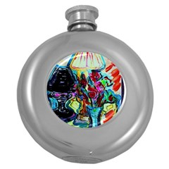 Still Life With Two Lamps Round Hip Flask (5 Oz) by bestdesignintheworld