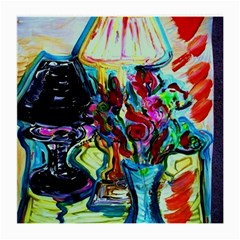 Still Life With Two Lamps Medium Glasses Cloth